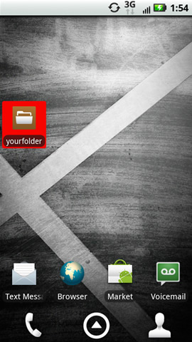 Home screen with a folder