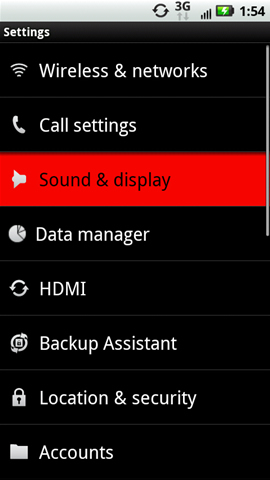Settings with Sound & display