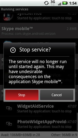 Stop service prompt with Stop