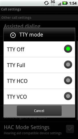 TTY mode with available settings