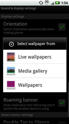 Select wallpaper from screen available options