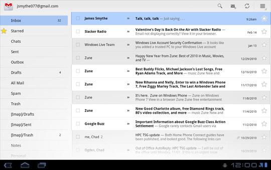 Mensajes del buzón de entrada de Gmail