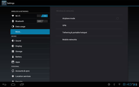 Settings menu, Wireless & networks, More