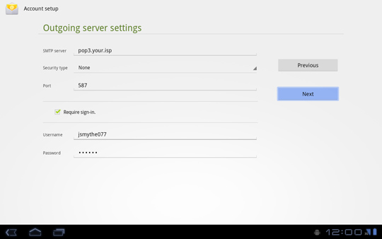 Outgoing server settings screen, Next