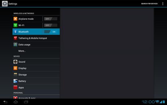 En la pantalla Settings, Bluetooth