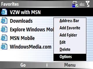 Imagen del menú de internet Explorer