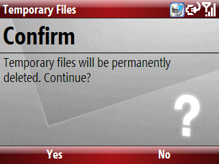 Temporary Files confirm deletion screen