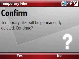 Pantalla de confirmación de eliminación Temporary Files