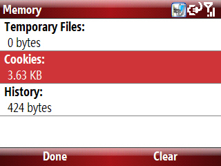 Pantalla internet Explorer Memory con Cookies seleccionado