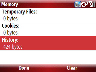Pantalla internet Explorer Memory con History seleccionado