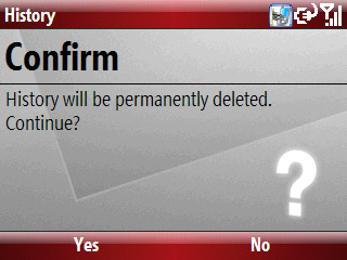 History confirm deletion screen