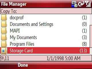 Copy To storage card