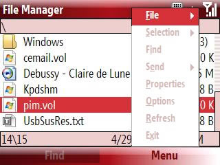 Select Menu then File