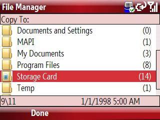 Copiar a tarjeta de almacenamiento