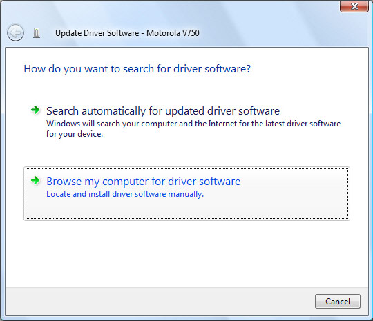 Driver update screen with focus on browse my computer for driver software