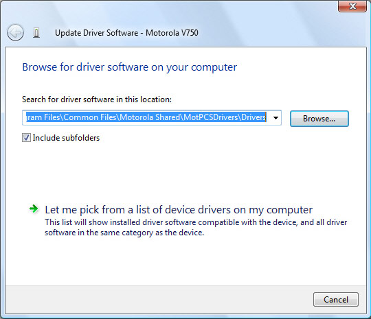 Update driver software screen with focus on search for driver software in this location