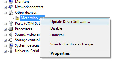 Device manager con foco en update driver software