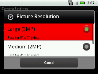 Select picture resolution setting