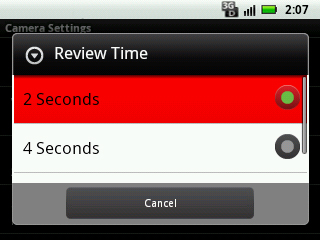 Select review time setting