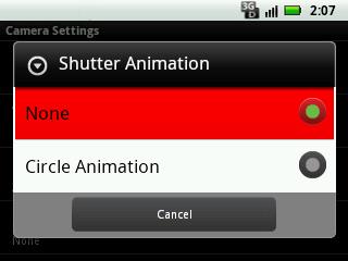Seleccionar animación del disparador, configuración