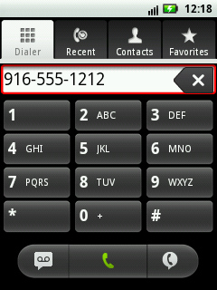 Phone dial screen