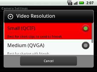 Select video resolution setting