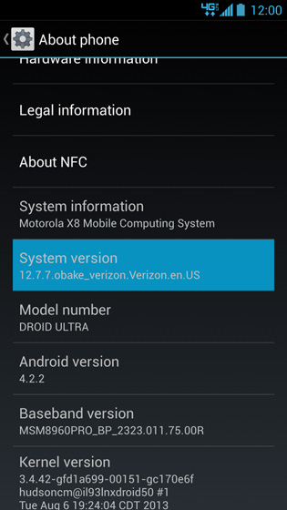 About phone, System version