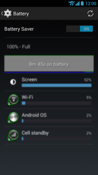 Battery screen, Battery Saver