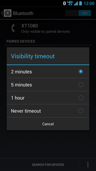 Bluetooth Visibility timeout options screen