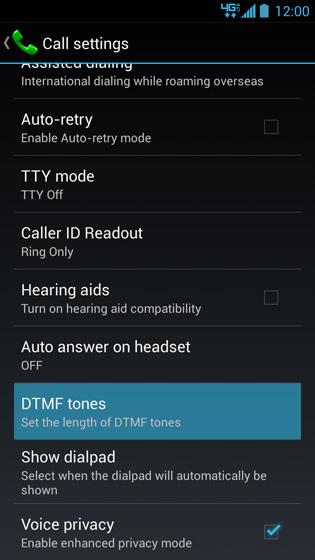 Pantalla Call settings, DTMF tones