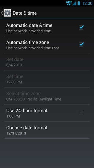 Pantalla Date & time con opciones Automatic date & time y Automatic time zone