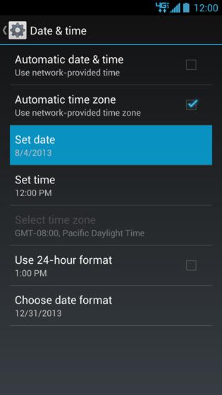 Pantalla Date & time con opción Set date