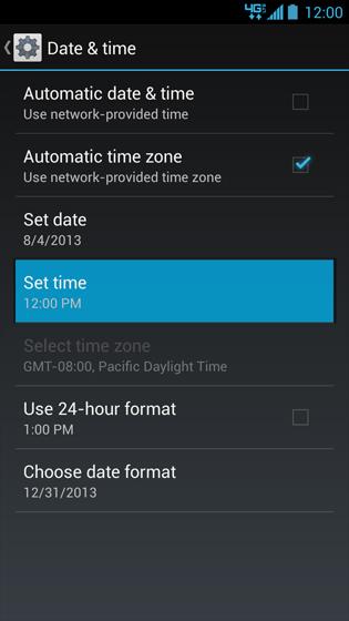 Pantalla Date & time con opción Set time