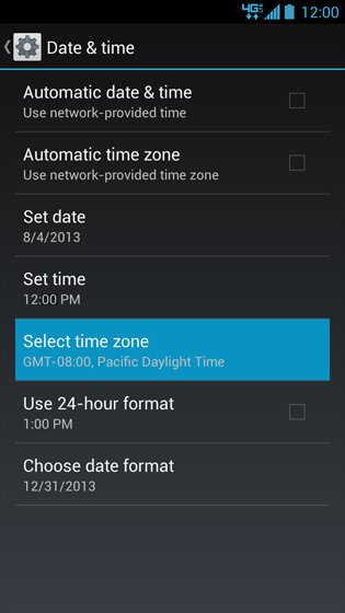Pantalla Date & time con opción Select time zone