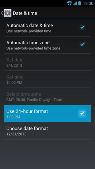 Pantalla Date & time con opción Use 24-hour format
