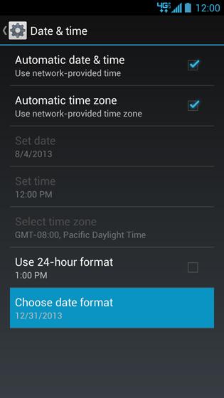 Pantalla Date & time con opción Choose date format