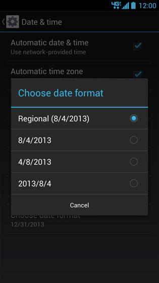 Pantalla de opciones de Choose date format