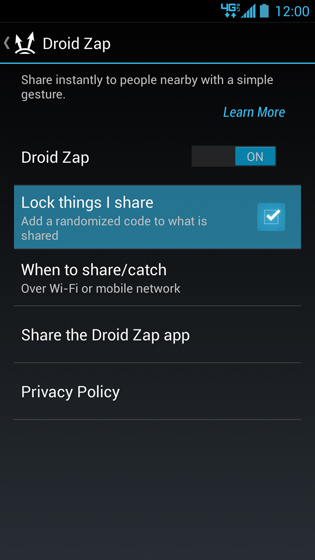 DROID Zap settings screen, Lock things I share
