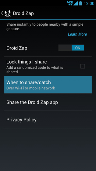 DROID Zap settings screen, When to share/catch