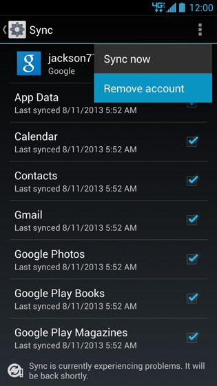 Google account menu, Remove account