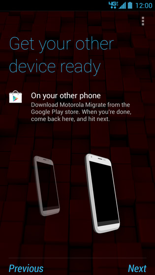 Get your other device ready screen, Next
