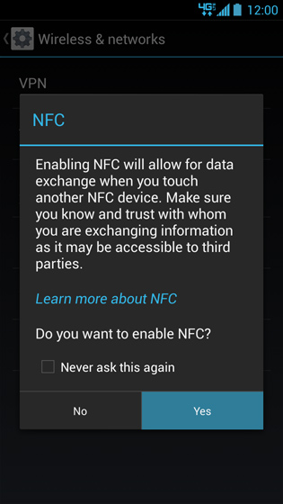 NFC warning message, Yes