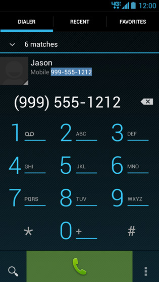 Phone dialer screen, Placing a call