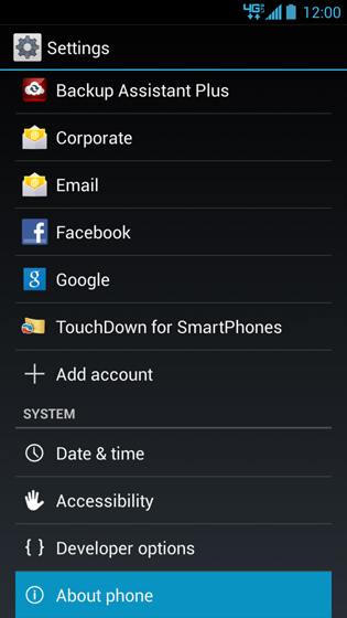 Settings, About phone