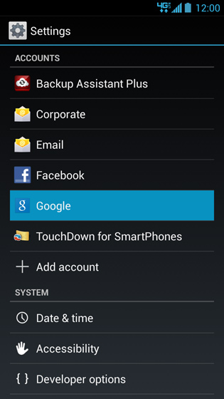 Settings menu, Google