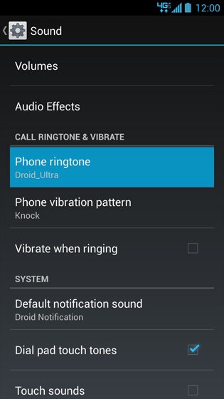 Sound options, Phone ringtone