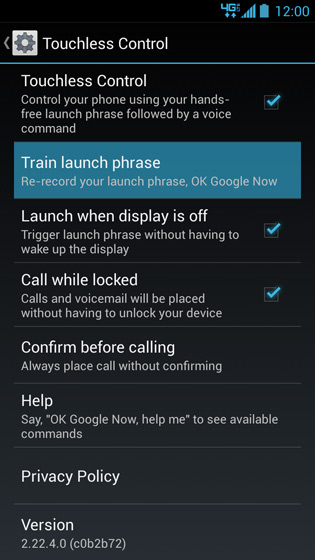 Touchless Control settings screen, Train launch phrase