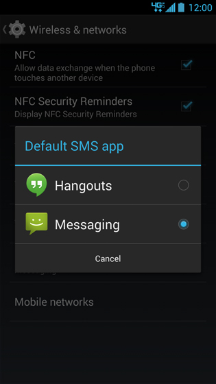 Wireless & Networks More screen, Default SMS app