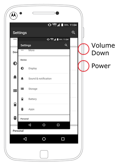 Power and Volume down buttons