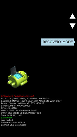 Boot mode screen